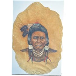 Indian art on leather, by Vern Fincher