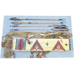 Cheyenne parfleche quiver and 4 steel point arrows