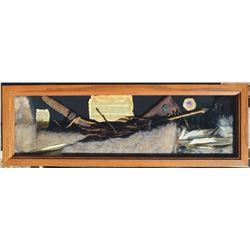 nice oak shadow box, The Hunter Land, north Plains Indian display