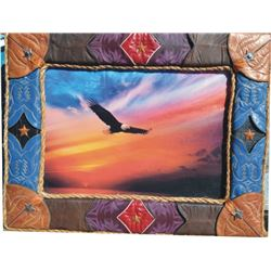 unique boot top framed oil bald eagle painting