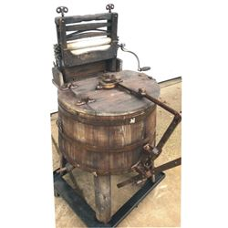 antique wooden washing machine