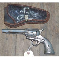 1936 Texas Cenntennial prop gun with tooled holster