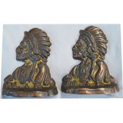 early bronze Indian head bookends