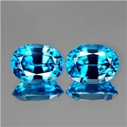 Natural  AAA Cambodian Blue Zircon Pair 7x5 MM