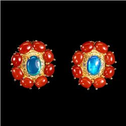 Natural Blue Opal & Italian Coral Earrings