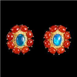 Natural Blue Opal & Italian Coral Earrings