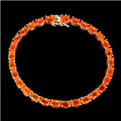 Natural Mexican Orange Fire Opal Bracelet