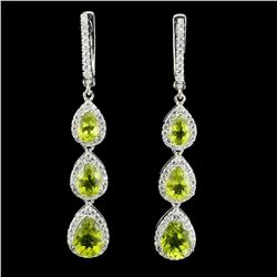 Natural Untreated Pear Green Peridot Earrings