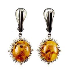 Natural Oval Orange Amber Earrings
