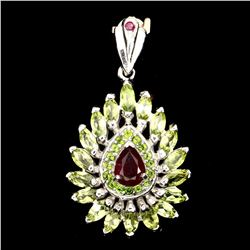 Natural Red Ruby Chrome Diopside Peridot Pendant