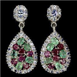 Natural Emerald Rhodolite Garnet Tanzanite Earrings