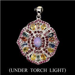 Natural  Opal Rhodolite Garnet Sapphire Pendant