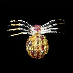 Natural Ruby & Sapphire Spider Brooch