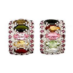 Natural Tourmaline & Rhodolite Garnet Earrings