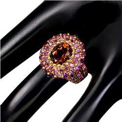 Natural Imperial Topaz, Rhodolite Garnet & Ruby Ring