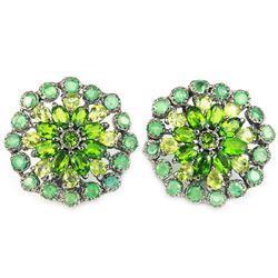 Natural Emerald Peridot & CH-Diopside Earrings