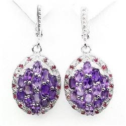 Natural Top Rich Purple Amethyst Red Ruby Earrings
