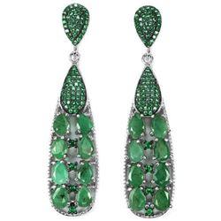 NATURAL GREEN EMERALD PEAR Two Tone Earrings