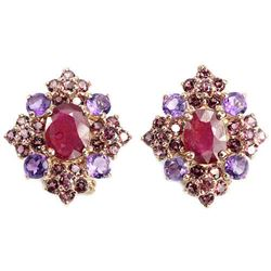 Natural BLOOD RED RUBY RHODOLITE & AMETHYST Earring