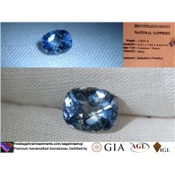 Vivid Blue/Metallic Sapphire, Sri Lanka, GIA 1.825 ct