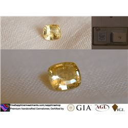 Vivid Yellow Sapphire, unheated, fine cut, GIA 1.71 ct
