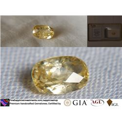 Vivid Yellow Sapphire, unheated, fine cut, GIA 2.03 ct