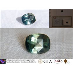 Green/Blue Metallic Sapphire handcrafted, GIA 2.26 ct