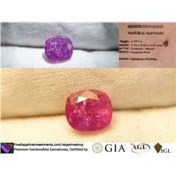 Bi-Color Hot Pink Sapphire, premium cut, GIA 1.475 ct
