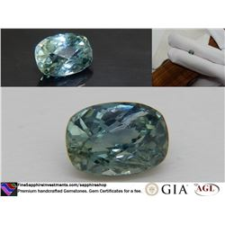 Blue-Green Sapphire unheated, premium cut GIA 1.28 ct