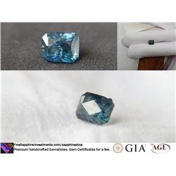 Blue-Green Madagascar Sapphire, hand-cut, GIA 3.05 ct