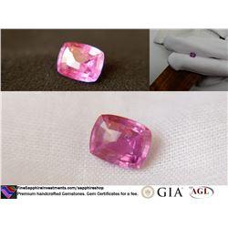 Vivid hot pink premium handcraft Sapphire, GIA 1.21 ct