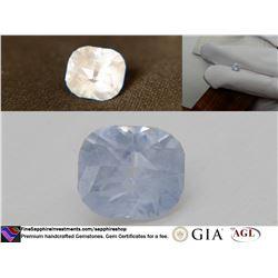 Smokey Silver Blue, fine freehand cut Sapphire 2.19 ct