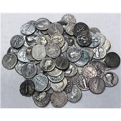 ROMAN EMPIRE: LOT of 69 silver denarii of a variety of reverse types