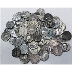 ROMAN EMPIRE: LOT of 69 silver denarii of a variety of reverse types