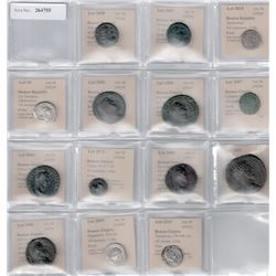 ANCIENT ROME: LOT of 14 silver and bronze coins from late 3rd century BC to late 4th century AD