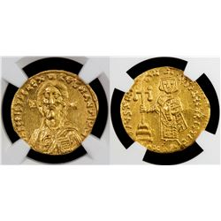 BYZANTINE EMPIRE: Justinian II, 1st reign, 685-695, AV solidus (4.34g) Constantinople, NGC Choice AU
