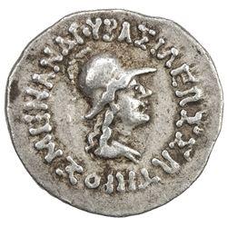 INDO-GREEK: Menander I, ca. 155-130 BC, AR drachm (2.45g). VF