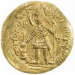 KUSHAN: Vasu Deva I, ca. 191-230+, AV dinar (7.78g). AU