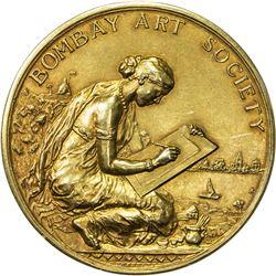 BRITISH INDIA: AV medal (51mm / 62.01g), 1928, Bombay Art Society, 18CT, RRR, EF