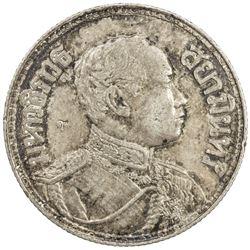 CHOPMARKED COINS: THAILAND: Rama VI, 1910-1925, AR baht, BE2460 (1917). EF