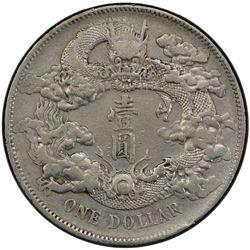 CHINA: Hsuan Tung, 1909-1911, AR dollar, year 3 (1911). PCGS EF