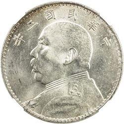 CHINA: Republic, AR dollar, year 3 (1914). NGC MS63