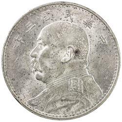 CHINA: Republic, AR dollar, year 3 (1914). AU