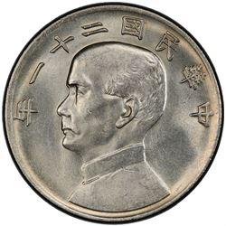 CHINA: Republic, AR dollar, year 21 (1932). PCGS UNC