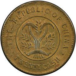 HUNAN: Republic, brass 20 cash, ND (1919). PCGS MS62