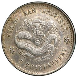 KIANGNAN: Kuang Hsu, 1875-1908, AR 10 cents, CD1898. PCGS AU