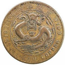 KIRIN: Hsuan Tung, 1909-1911, AE 20 cash, CD1909, Y-21p, CL-KR.33; Duan-1289; CCC-494, VF-EF