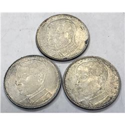 KWANGTUNG: LOT of 3 silver 20 cent coins