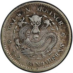 TAIWAN: Kuang Hsu, 1875-1908, AR 10 cents, ND (1893-94). PCGS VF30