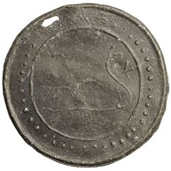 TENASSERIM-PEGU: Anonymous, 17th-18th century, cast large tin coin (38.07g). EF